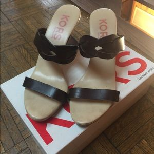 Michael Kors Brown Wood Bottom Heels Sandals